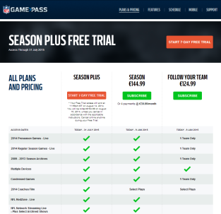 NFL Gamepass Products
